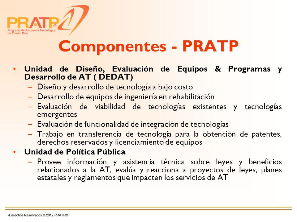 Componentes - PRATP Unidad de Diseño, Evaluación de Equipos & Programas y Desarrollo de AT ( DEDAT)