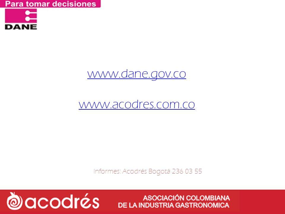 Informes: Acodrés Bogotá 236 03 55
