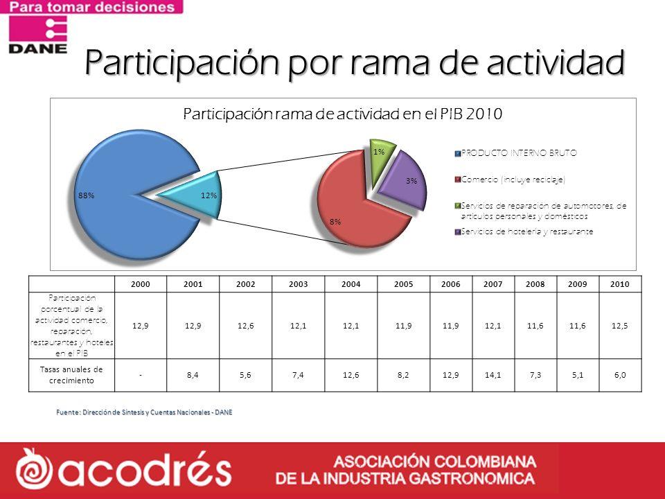 Participación por rama de actividad