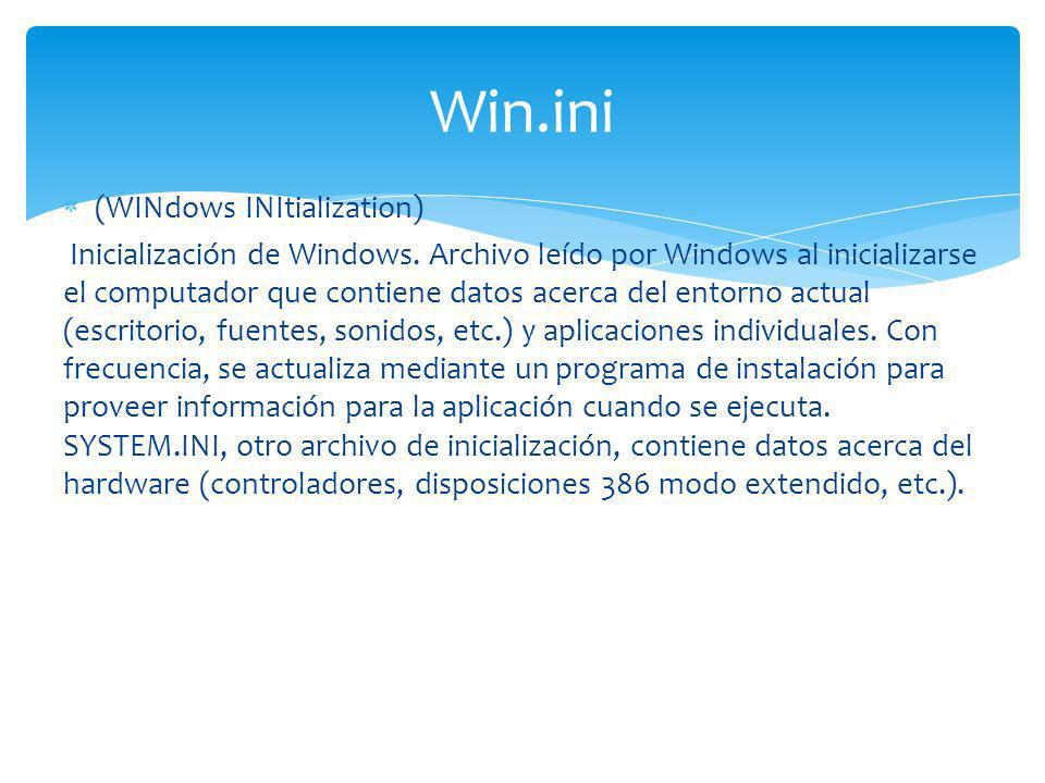 Win.ini (WINdows INItialization)