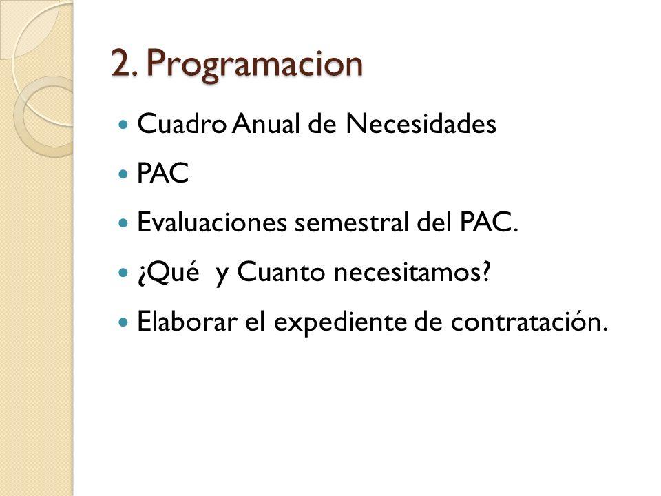 2. Programacion Cuadro Anual de Necesidades PAC