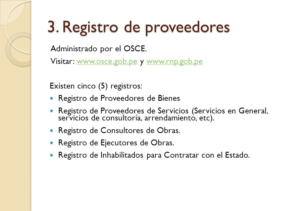 3. Registro de proveedores