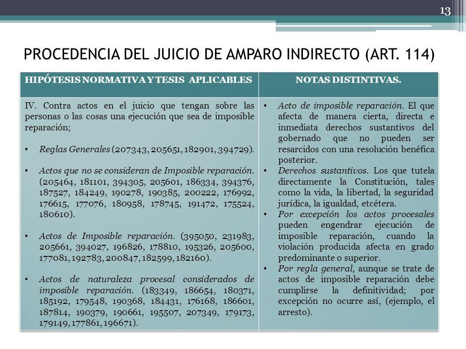 PROCEDENCIA DEL JUICIO DE AMPARO INDIRECTO (ART. 114)