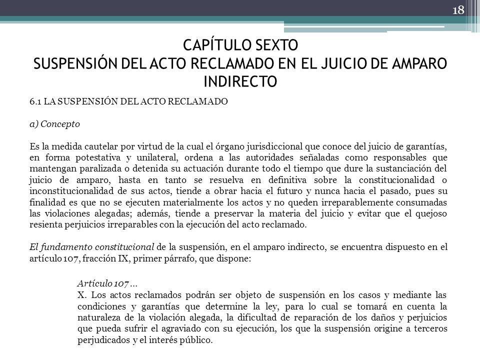 CAPÍTULO SEXTO SUSPENSIÓN DEL ACTO RECLAMADO EN EL JUICIO DE AMPARO INDIRECTO