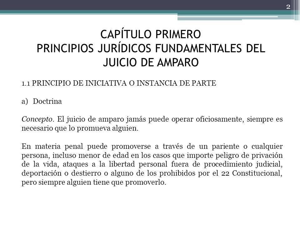 CAPÍTULO PRIMERO PRINCIPIOS JURÍDICOS FUNDAMENTALES DEL JUICIO DE AMPARO