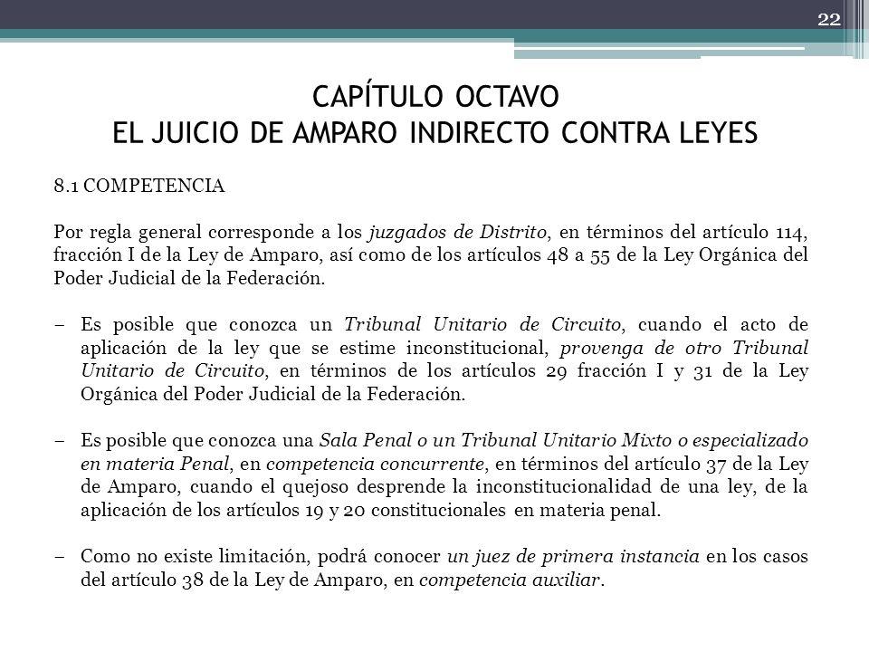 CAPÍTULO OCTAVO EL JUICIO DE AMPARO INDIRECTO CONTRA LEYES