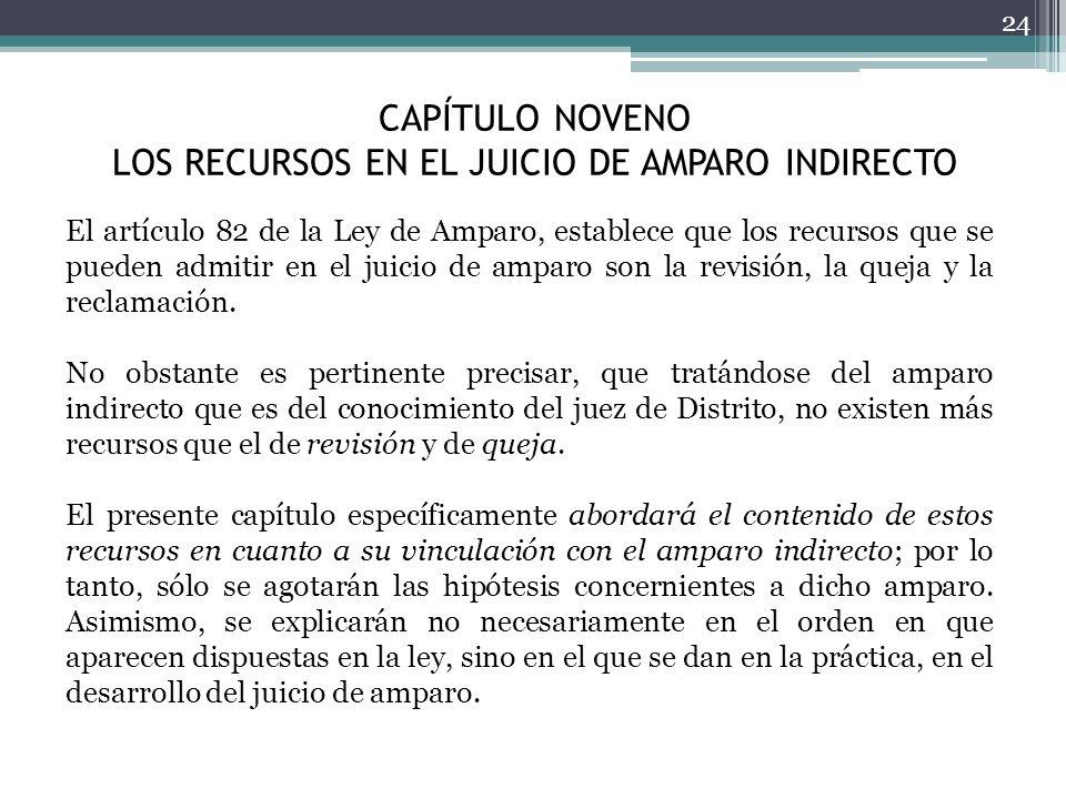 CAPÍTULO NOVENO LOS RECURSOS EN EL JUICIO DE AMPARO INDIRECTO