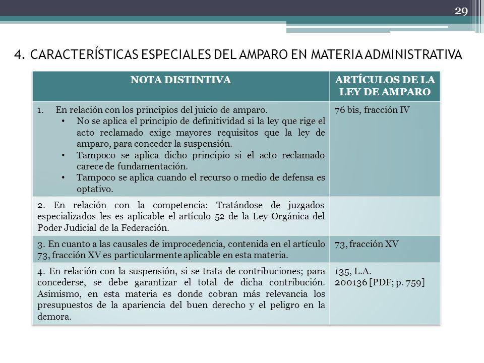 4. CARACTERÍSTICAS ESPECIALES DEL AMPARO EN MATERIA ADMINISTRATIVA