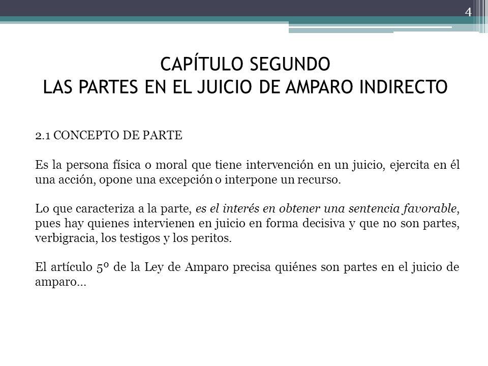 CAPÍTULO SEGUNDO LAS PARTES EN EL JUICIO DE AMPARO INDIRECTO