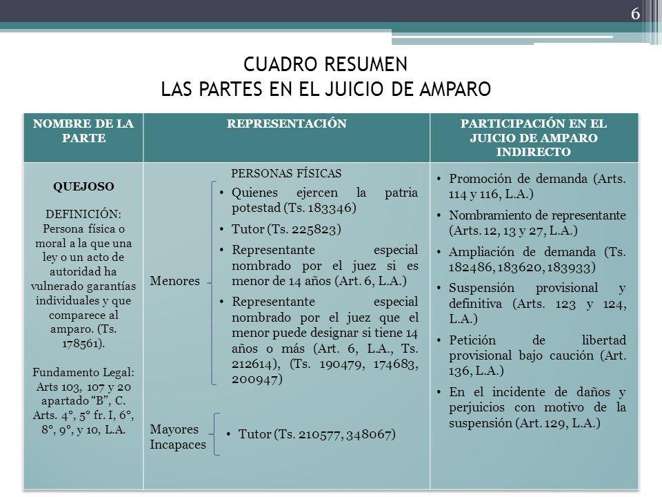 CUADRO RESUMEN LAS PARTES EN EL JUICIO DE AMPARO