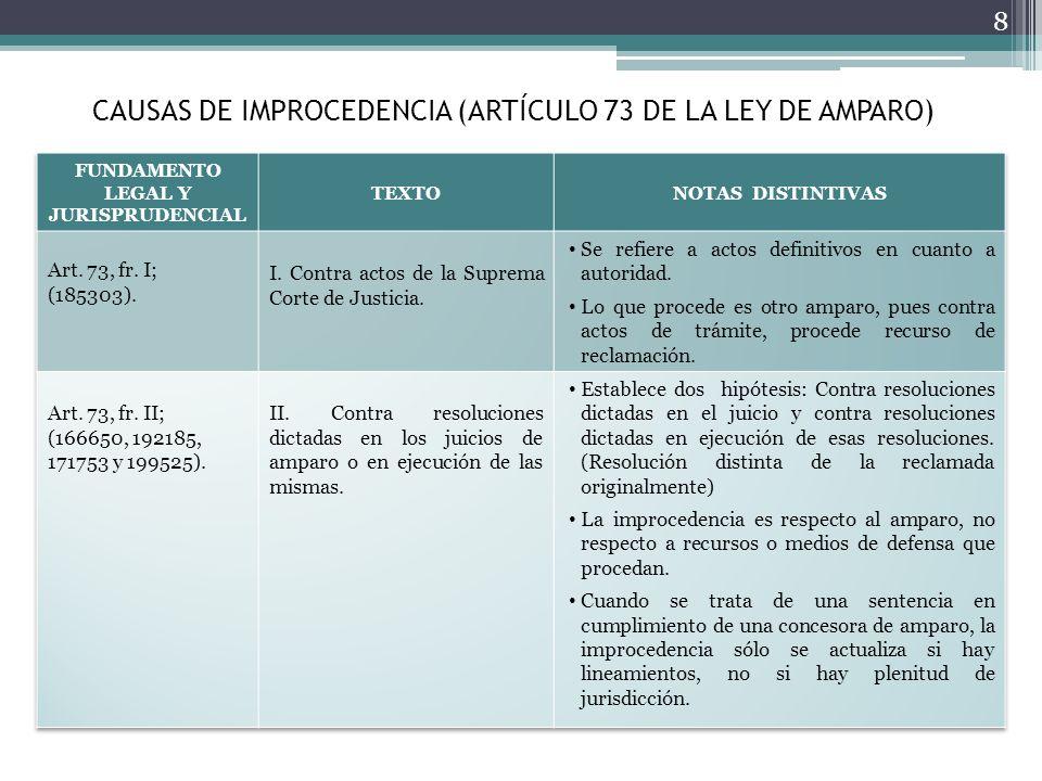 CAUSAS DE IMPROCEDENCIA (ARTÍCULO 73 DE LA LEY DE AMPARO)