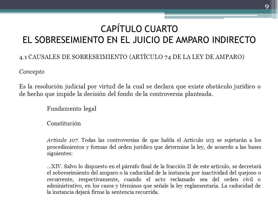 CAPÍTULO CUARTO EL SOBRESEIMIENTO EN EL JUICIO DE AMPARO INDIRECTO