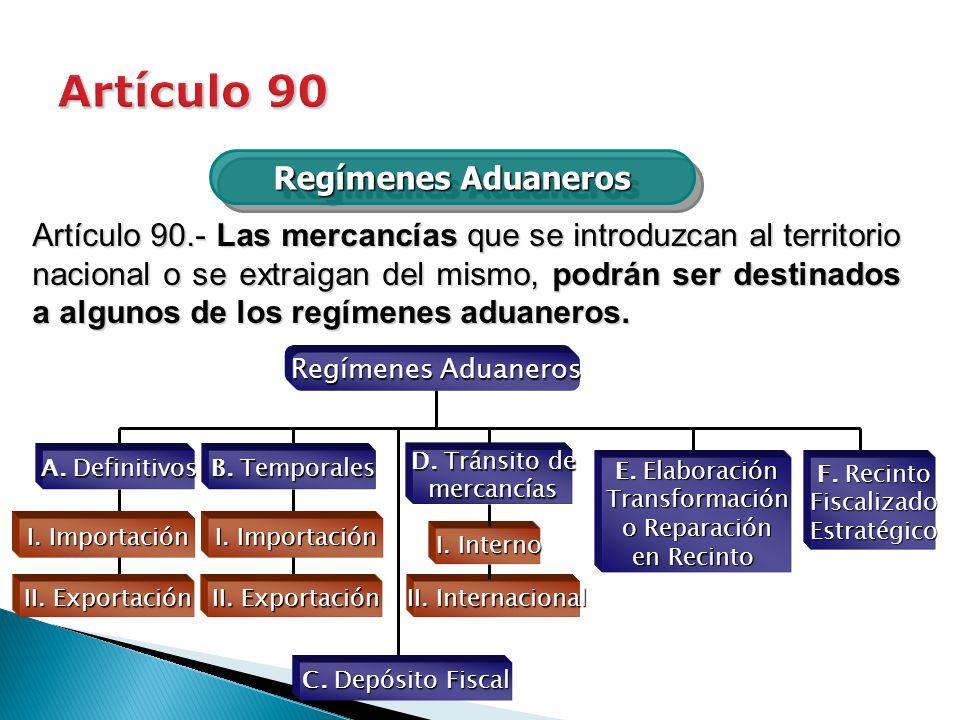 Artículo 90 Regímenes Aduaneros