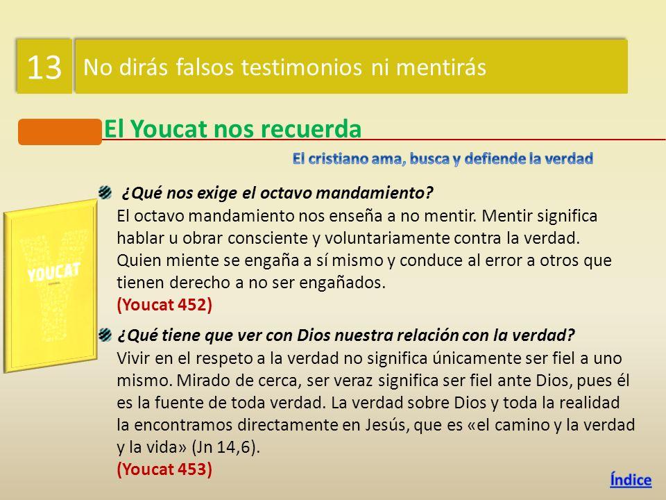 13 El Youcat nos recuerda No dirás falsos testimonios ni mentirás