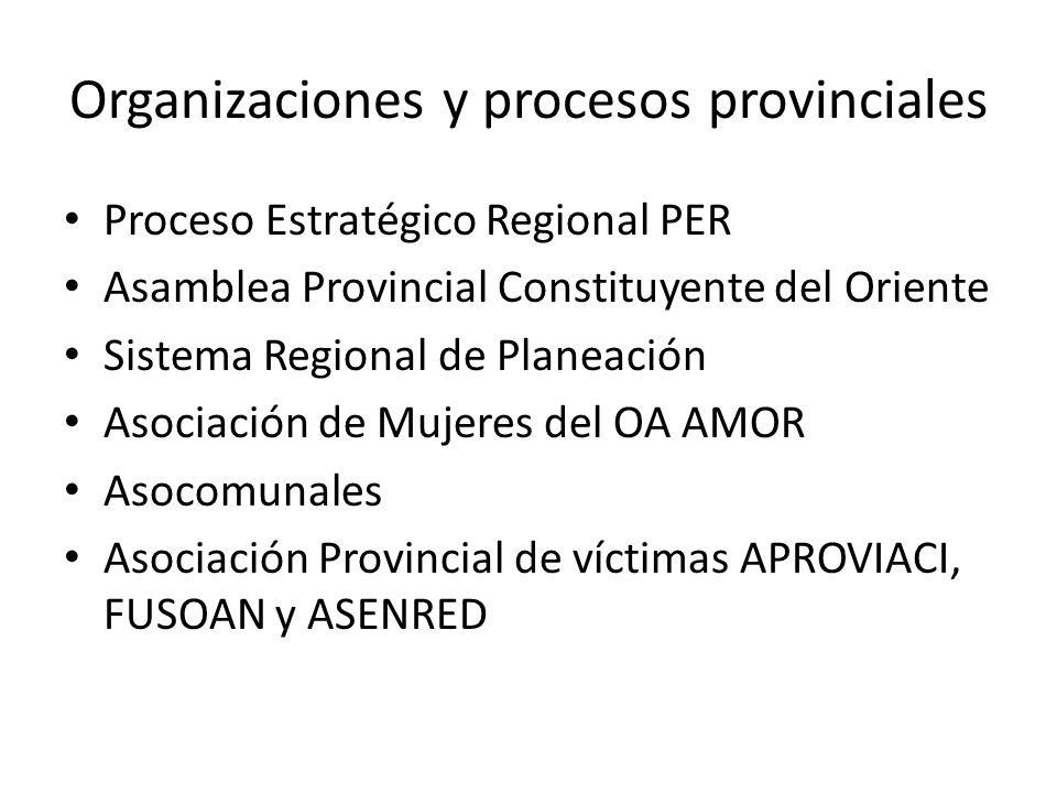 Organizaciones y procesos provinciales