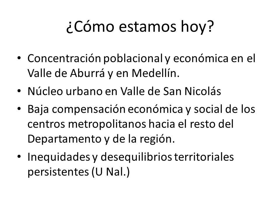 ¿Cómo estamos hoy Concentración poblacional y económica en el Valle de Aburrá y en Medellín. Núcleo urbano en Valle de San Nicolás.