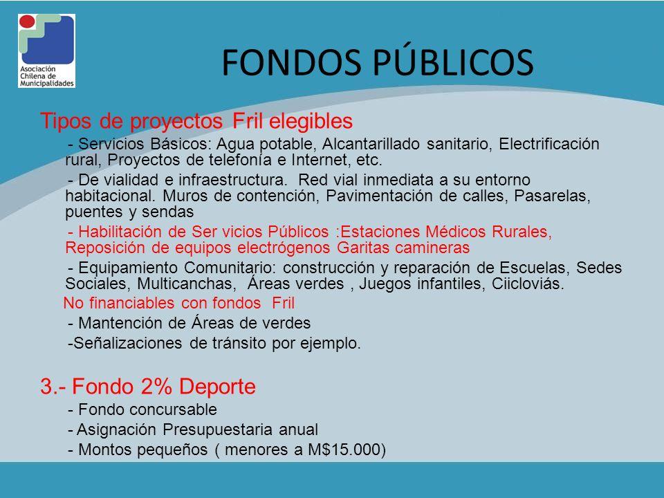 FONDOS PÚBLICOS Tipos de proyectos Fril elegibles 3.- Fondo 2% Deporte