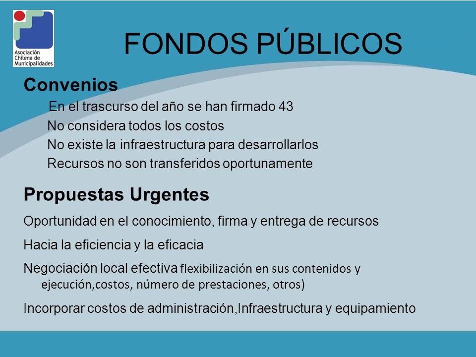 FONDOS PÚBLICOS Convenios Propuestas Urgentes