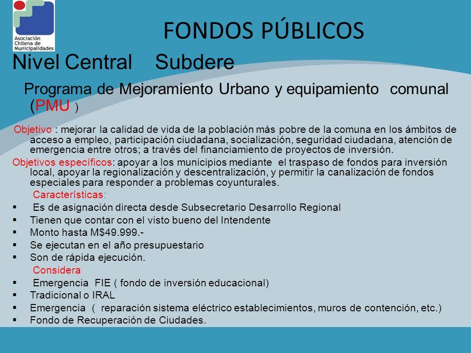 FONDOS PÚBLICOS Nivel Central Subdere
