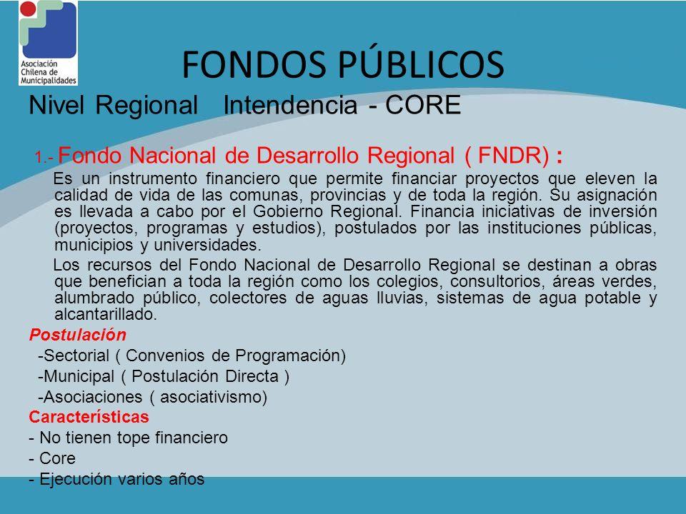 FONDOS PÚBLICOS Nivel Regional Intendencia - CORE