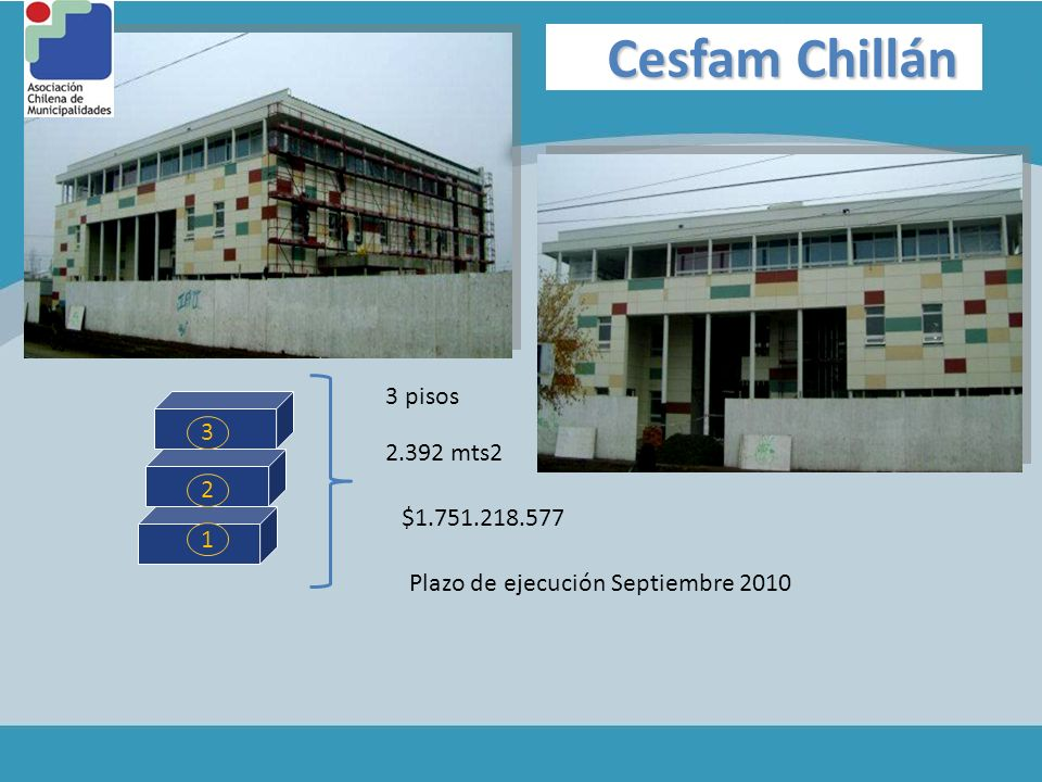 Cesfam Chillán 3 pisos 3 2.392 mts2 2 $1.751.218.577 1