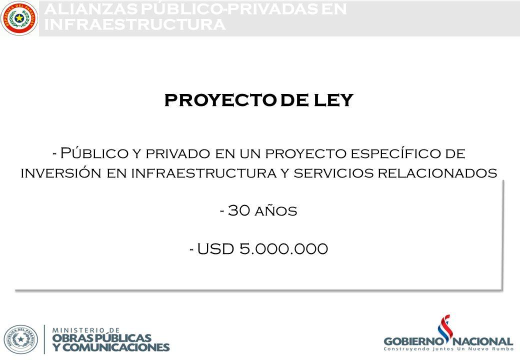 PROYECTO DE LEY - Público y privado en un proyecto específico de inversión en infraestructura y servicios relacionados - 30 años - USD 5.000.000