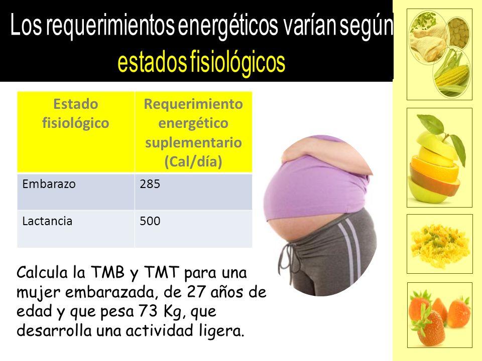 Requerimiento energético suplementario (Cal/día)