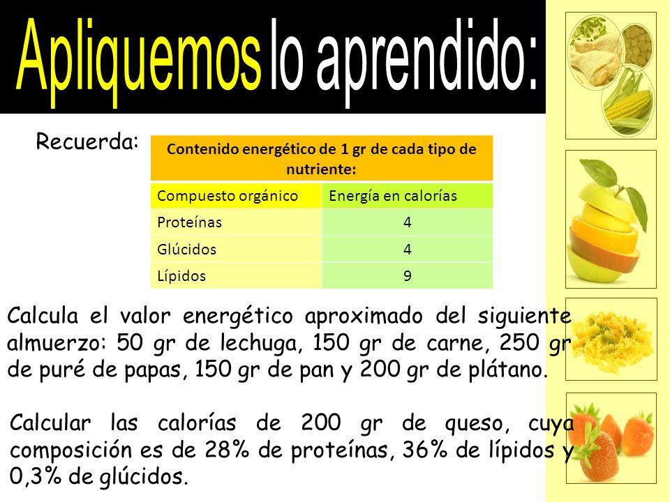 Contenido energético de 1 gr de cada tipo de nutriente:
