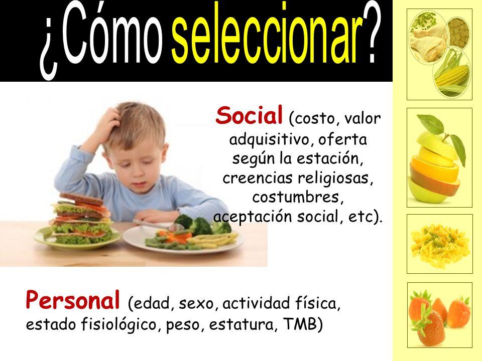 ¿Cómo seleccionar Social (costo, valor adquisitivo, oferta según la estación, creencias religiosas, costumbres, aceptación social, etc).