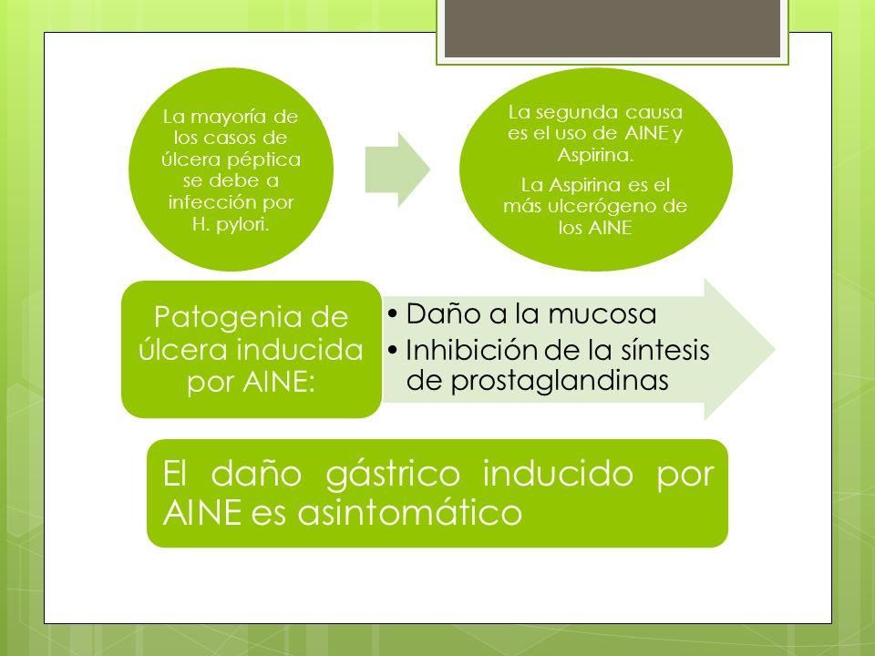 El daño gástrico inducido por AINE es asintomático