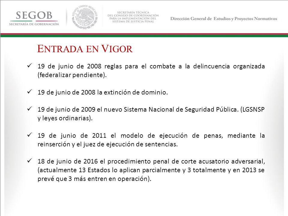 ENTRADA EN VIGOR 19 de junio de 2008 reglas para el combate a la delincuencia organizada (federalizar pendiente).