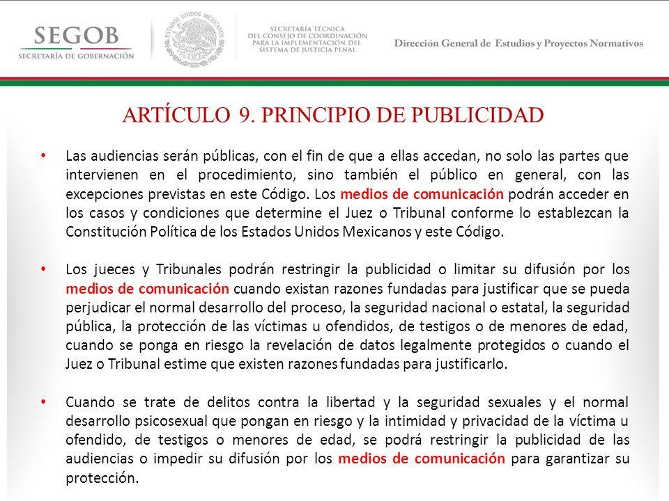 ARTÍCULO 9. PRINCIPIO DE PUBLICIDAD