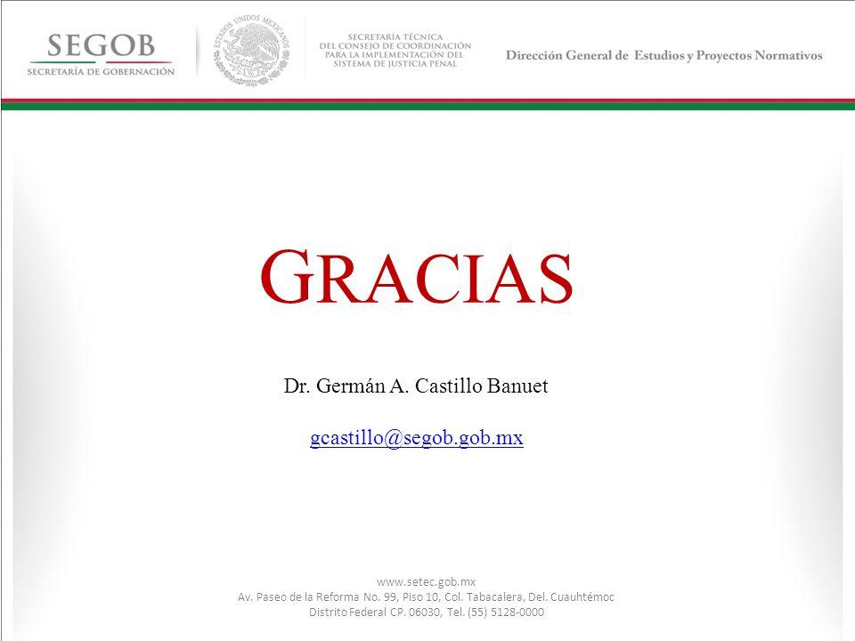 GRACIAS Dr. Germán A. Castillo Banuet gcastillo@segob.gob.mx