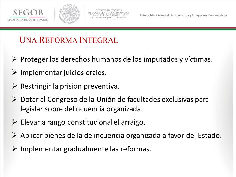 UNA REFORMA INTEGRAL Proteger los derechos humanos de los imputados y víctimas. Implementar juicios orales.