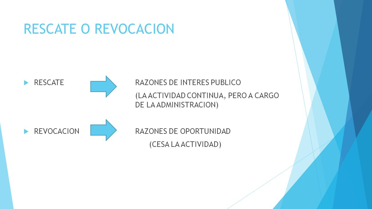 RESCATE O REVOCACION RESCATE RAZONES DE INTERES PUBLICO