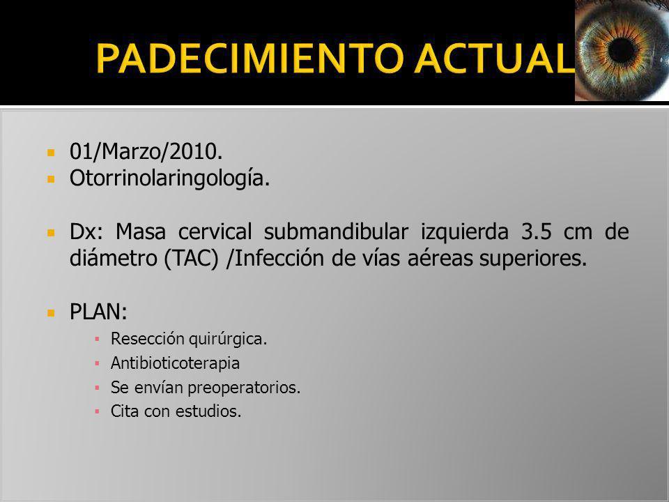PADECIMIENTO ACTUAL 01/Marzo/2010. Otorrinolaringología.