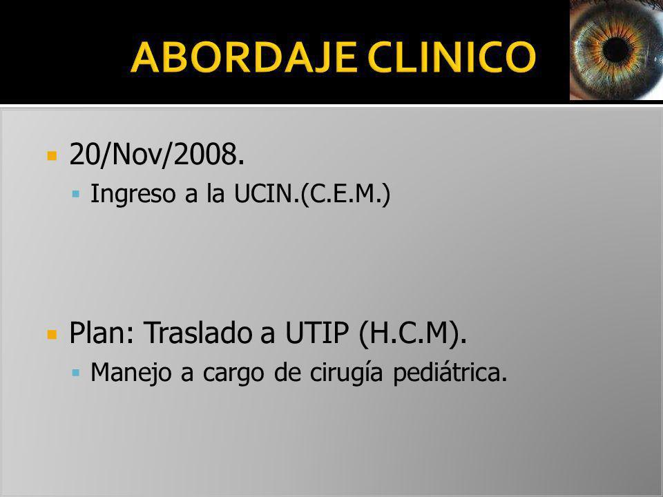 ABORDAJE CLINICO 20/Nov/2008. Plan: Traslado a UTIP (H.C.M).