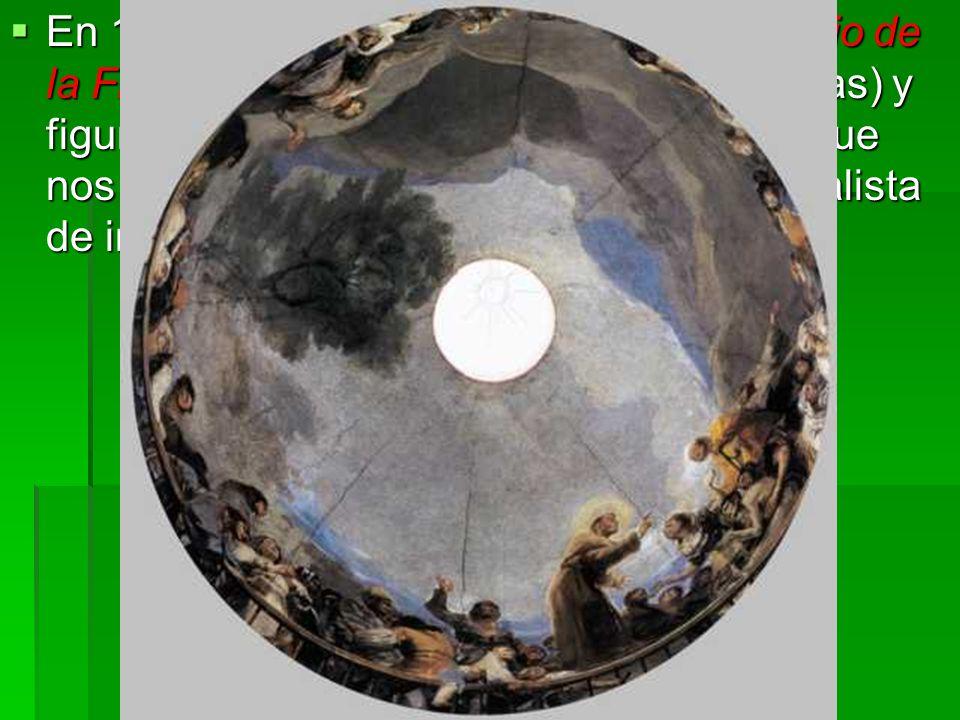 En 1798 decoró la bóveda de San Antonio de la Florida , con bellísimos ángeles (ángelas) y figuras llenas de naturalismo y picardía, que nos ilustran acerca de esa manera tan realista de interpretar Goya lo religioso.