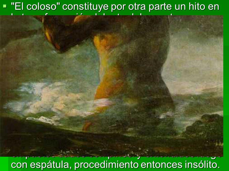 El coloso constituye por otra parte un hito en la transformación del arte del maestro aragonés; el último estilo, el de las pinturas negras, inicia aquí su ciclo.
