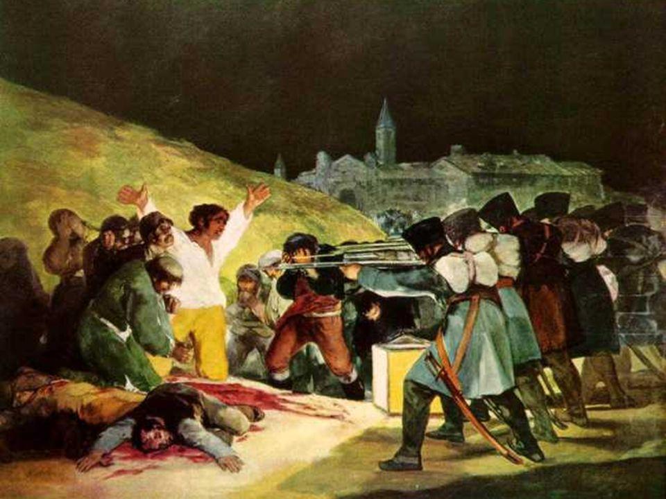 En Los Fusilamientos , mediante una pincelada desgarradora y luz enérgicamente violenta, Goya recrean los que tuvieron lugar en la noche del 2 al 3 de mayo de 1808.