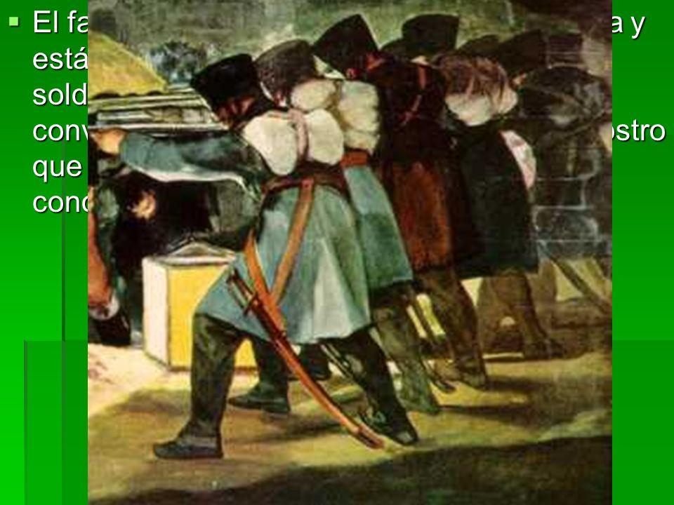 El farol situado en el suelo ilumina la escena y está parcialmente oculto por la masa de los soldados franceses, anónimos, idénticos, convertidos en una máquina de matar sin rostro que contrasta con el patetismo de los condenados.