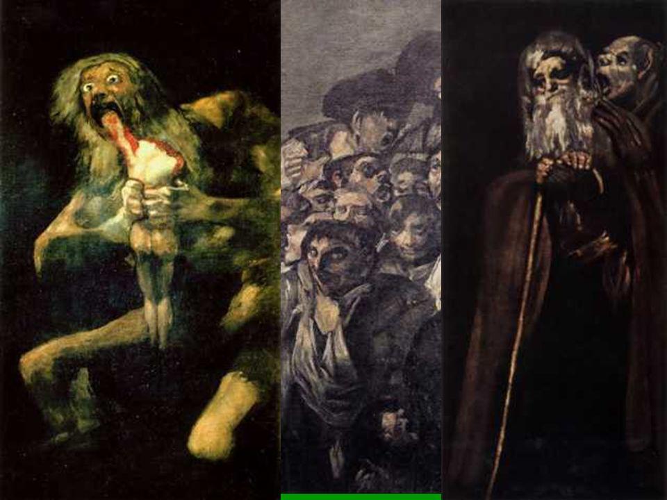 En la sala de abajo las mujeres son brujas ( El aquelarre ) y destrozan a los hombres ( Judith ).