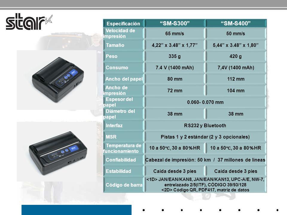 SM-S300 SM-S400 Especificación Velocidad de impresión 65 mm/s