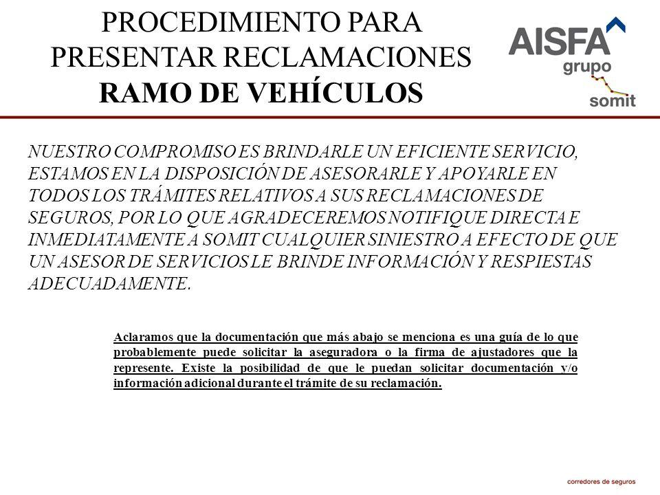 PROCEDIMIENTO PARA PRESENTAR RECLAMACIONES RAMO DE VEHÍCULOS