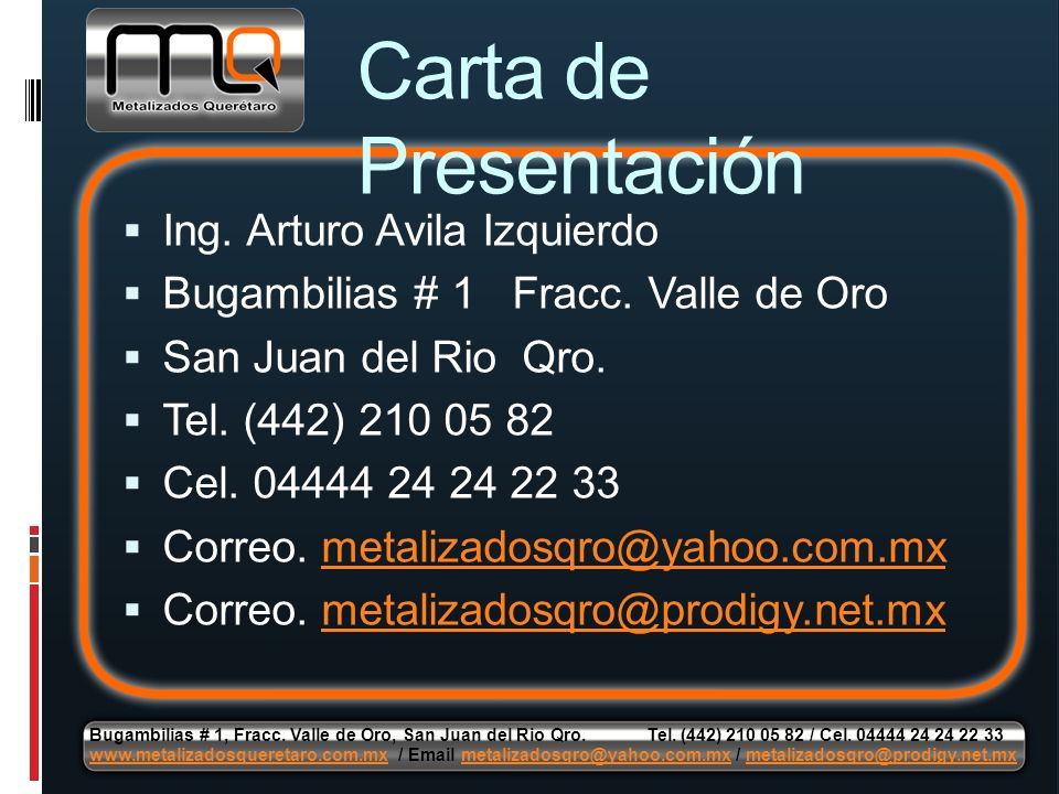 Carta de Presentación Ing. Arturo Avila Izquierdo
