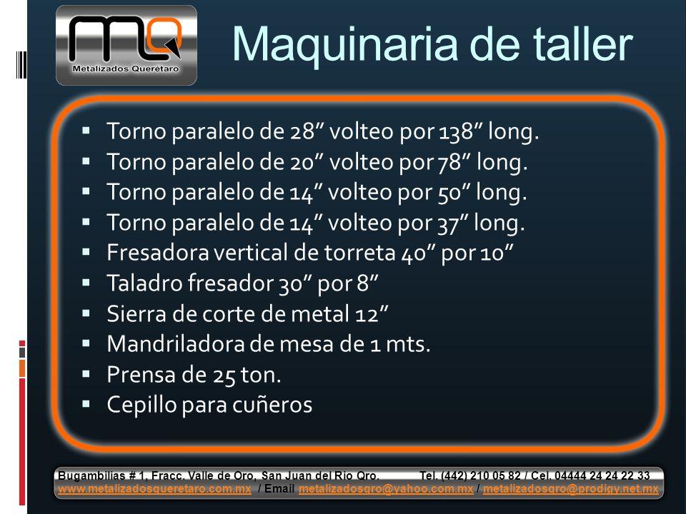 Maquinaria de taller Torno paralelo de 28 volteo por 138 long.