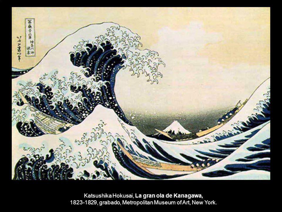Katsushika Hokusai, La gran ola de Kanagawa, 1823-1829, grabado, Metropolitan Museum of Art, New York.