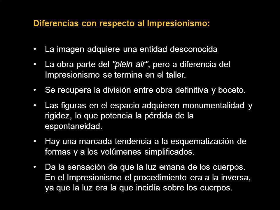 Diferencias con respecto al Impresionismo: