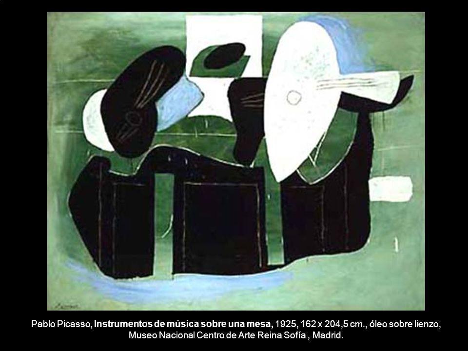 Pablo Picasso, Instrumentos de música sobre una mesa, 1925, 162 x 204,5 cm., óleo sobre lienzo, Museo Nacional Centro de Arte Reina Sofía , Madrid.