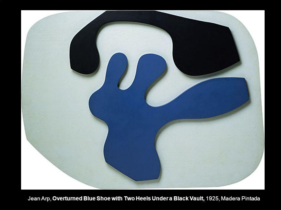 Jean Arp, Overturned Blue Shoe with Two Heels Under a Black Vault, 1925, Madera Pintada